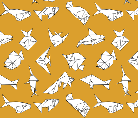 Origami fish folds on yellow fabric by sixsleekswans on Spoonflower - custom fabric