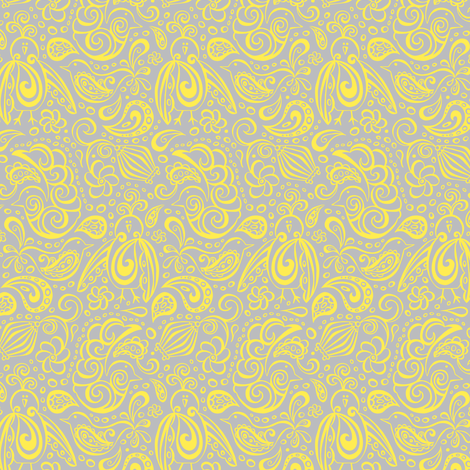 Festooned Feathered Friends - Grey & Yellow fabric by heatherdutton on Spoonflower - custom fabric