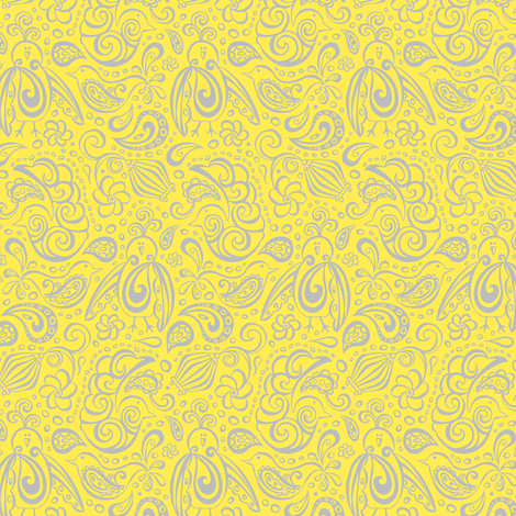 Festooned Feathered Friends - Yellow & Grey  fabric by heatherdutton on Spoonflower - custom fabric