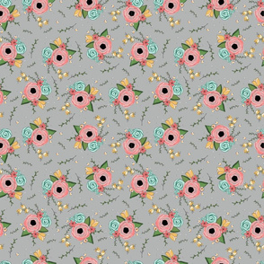 Floral Nosegay Grey