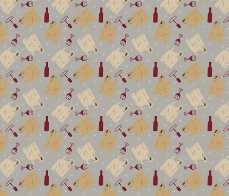 Tiny Wheaten Terriers - wine fabric by rusticcorgi on Spoonflower - custom fabric