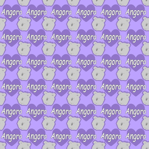 Tiny Angora rabbits with hearts - purple