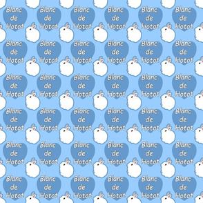 Tiny Blanc de Hotot rabbits with hearts - blue