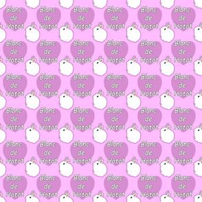 Tiny Blanc de Hotot rabbits with hearts - pink