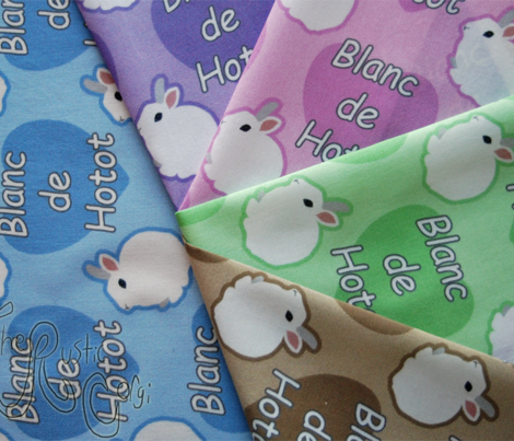 Tiny Blanc de Hotot rabbits with hearts - green