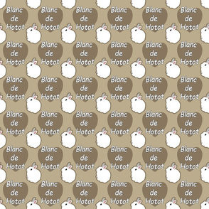 Tiny Blanc de Hotot rabbits with hearts - brown