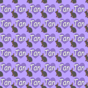 Tiny Tan rabbits with hearts - purple