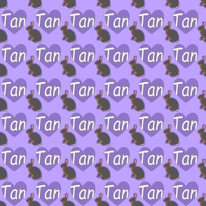 Tiny Tan rabbits with hearts - purple