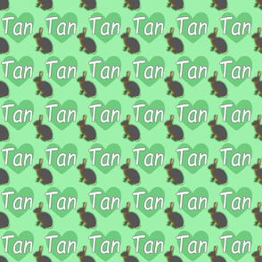 Tiny Tan rabbits with hearts - green