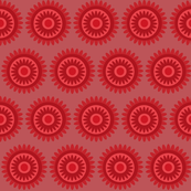 red flower circles