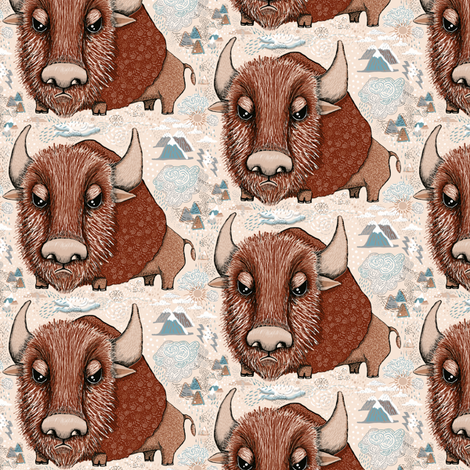 American Buffalo Bison Southwest Southwestern, small scale, ivory natural ecru brown beige neutral buff sand taupe camel fabric by amy_g on Spoonflower - custom fabric