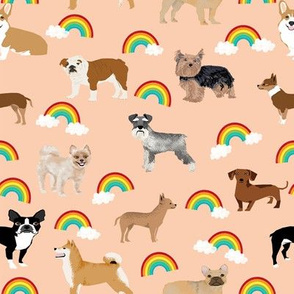 Dogs with Rainbows fabric kawaii cute pet dogs - pastel