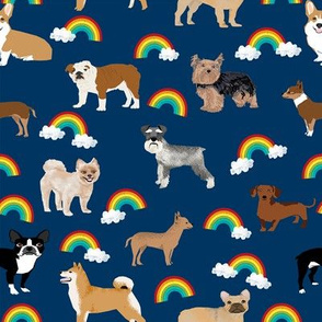 Dogs with Rainbows fabric kawaii cute pet dogs - navy