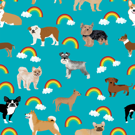 Dogs with Rainbows fabric kawaii cute pet dogs fabric by petfriendly on Spoonflower - custom fabric