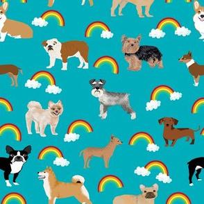 Dogs with Rainbows fabric kawaii cute pet dogs