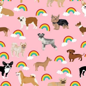 Dogs with Rainbows fabric kawaii cute pet dogs - pink