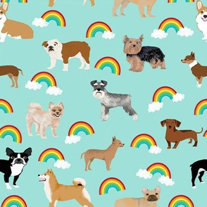 Dogs with Rainbows fabric kawaii cute pet dogs - blue
