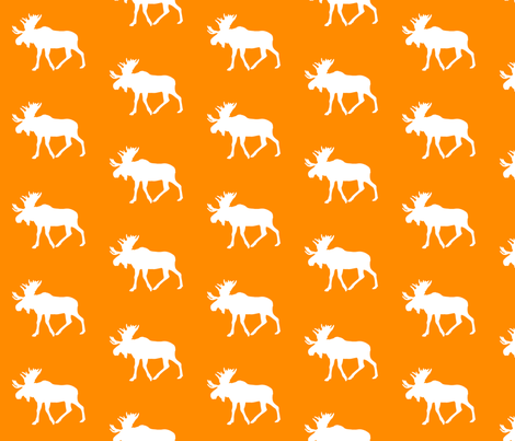 moose on orange || the great outdoors collection fabric by littlearrowdesign on Spoonflower - custom fabric