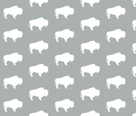 buffalo on grey || the great outdoors collection  fabric by littlearrowdesign on Spoonflower - custom fabric