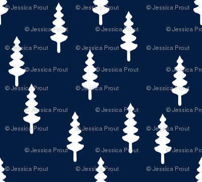 forest on navy || tree fabric the great outdoors collection