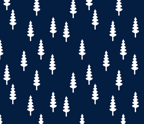 forest on navy || tree fabric the great outdoors collection fabric by littlearrowdesign on Spoonflower - custom fabric