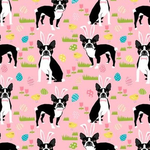 boston terrier easter bunny fabric cute pastel dog design featuring easter eggs spring time chicks and dogs