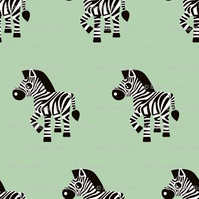Sweet pastels african zebra safari cool trendy animals design for kids soft mint gender neutral