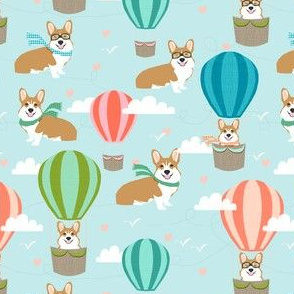 corgi hot air balloon fabric cute corgis in hot air balloons