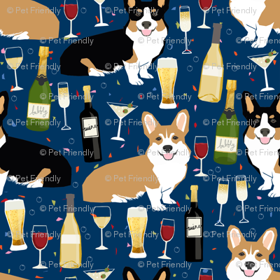 corgis and wine fabric wine champagne bubbly fabric