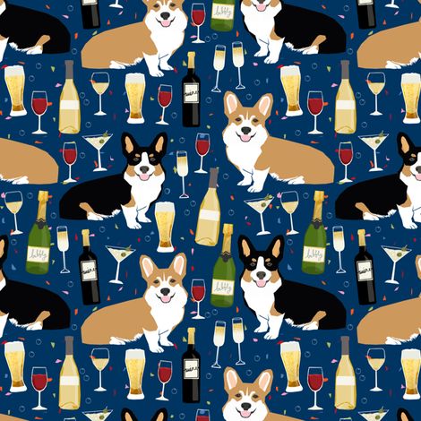 corgis and wine fabric wine champagne bubbly fabric  fabric by petfriendly on Spoonflower - custom fabric