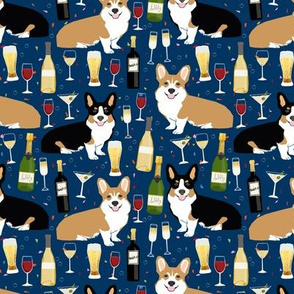 corgis and wine fabric wine champagne bubbly fabric
