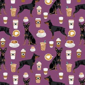 miniature pinscher coffee fabric cute min pin fabric design - amethyst