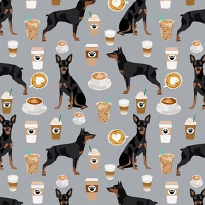 miniature pinscher coffee fabric cute min pin fabric design - grey