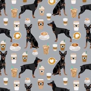miniature pinscher coffee fabric cute min pin fabric design - grey