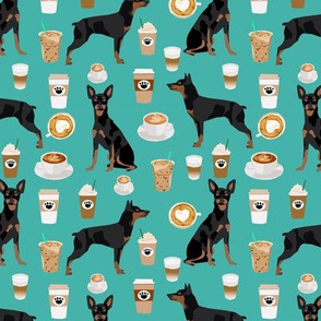 miniature pinscher coffee fabric cute min pin fabric design - turquoise