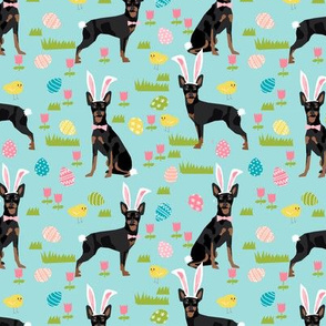 miniature pinscher pastel easter fabric spring time dogs design - blue
