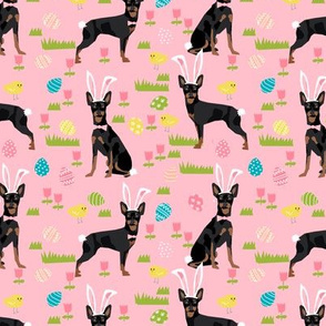 miniature pinscher pastel easter fabric spring time dogs design - pink