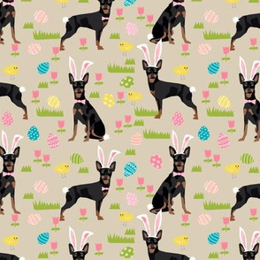 miniature pinscher pastel easter fabric spring time dogs design - sand