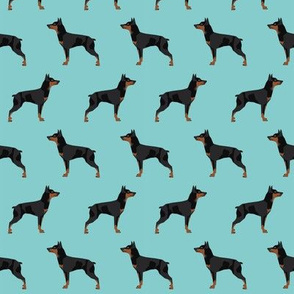 miniature pinscher dog fabric best dogs design - blue tint