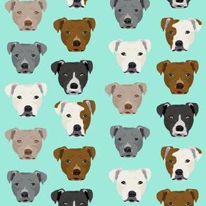 pitbull heads fabric pitbull terrier dog fabrics - aqua