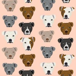 pitbull heads fabric pitbull terrier dog fabrics - blush