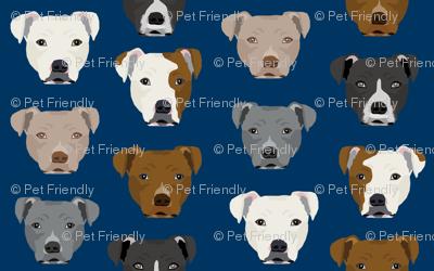 pitbull heads fabric pitbull terrier dog fabrics - navy