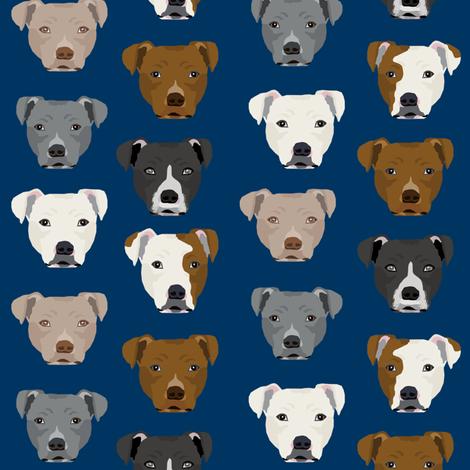 pitbull heads fabric pitbull terrier dog fabrics - navy fabric by petfriendly on Spoonflower - custom fabric
