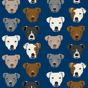 pitbull heads fabric pitbull terrier dog fabrics - navy