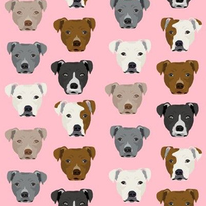 pitbull heads fabric pitbull terrier dog fabrics - pink
