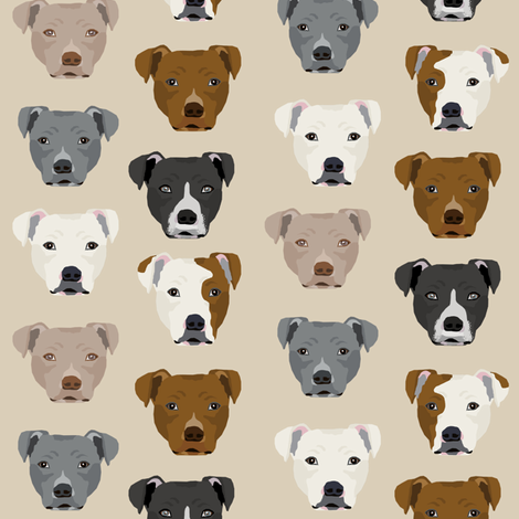 pitbull heads fabric pitbull terrier dog fabrics - sand fabric by petfriendly on Spoonflower - custom fabric