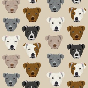 pitbull heads fabric pitbull terrier dog fabrics - sand