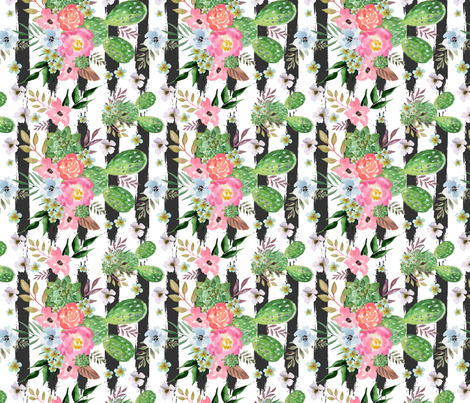 watercolor western flowers, cactus, tropical,Cactus and floral Strips background fabric by teart on Spoonflower - custom fabric