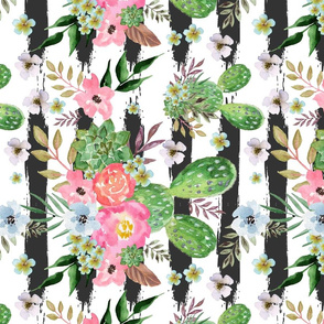 watercolor western flowers, cactus, tropical,Cactus and floral Strips background