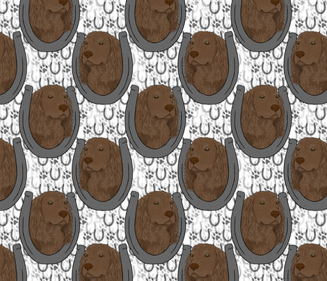 Boykin spaniel horseshoe portraits fabric by rusticcorgi on Spoonflower - custom fabric